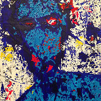 Acrylic painting blue shadow self by Jeffrey Newman