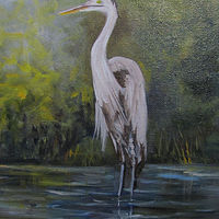 Oil painting  Blue Heron  by Barbara Haviland