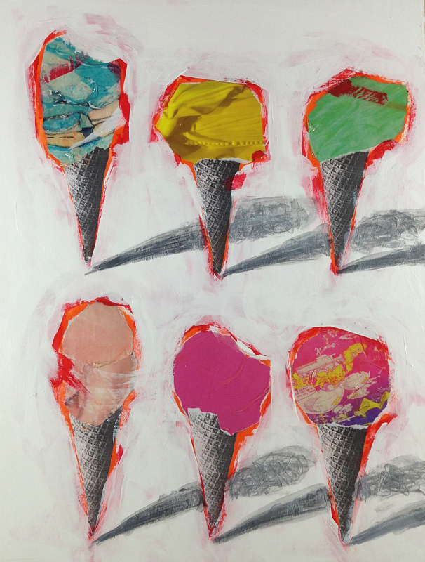 Acrylic painting Six Cones 1 by Deirdre  Hofer
