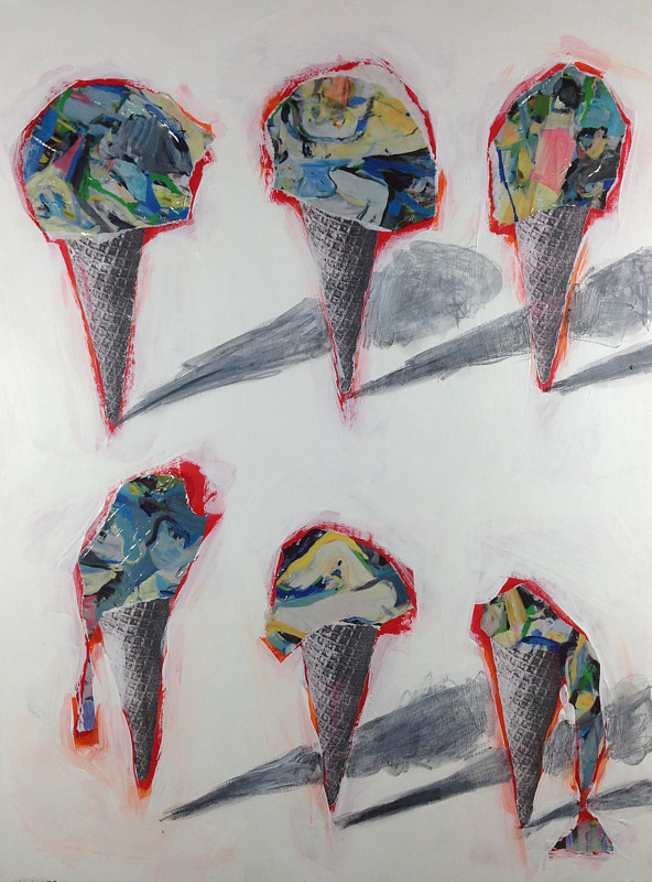 Acrylic painting Six Cones 3 by Deirdre  Hofer
