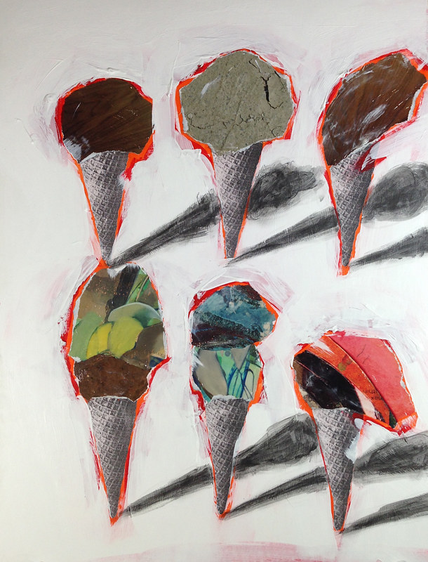 Acrylic painting Six Cones 4 by Deirdre  Hofer