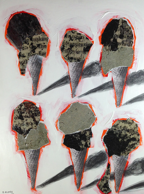 Acrylic painting Six Cones 5 by Deirdre  Hofer