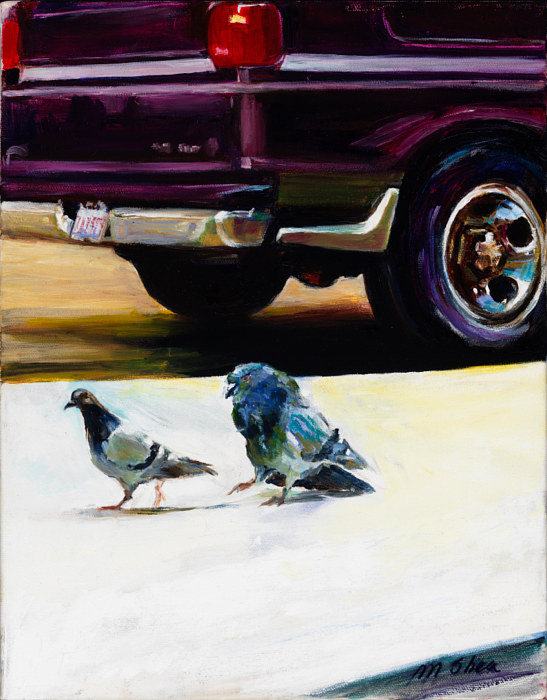 Oil painting the chase, mr. and mrs. rock dove by Madeline Shea
