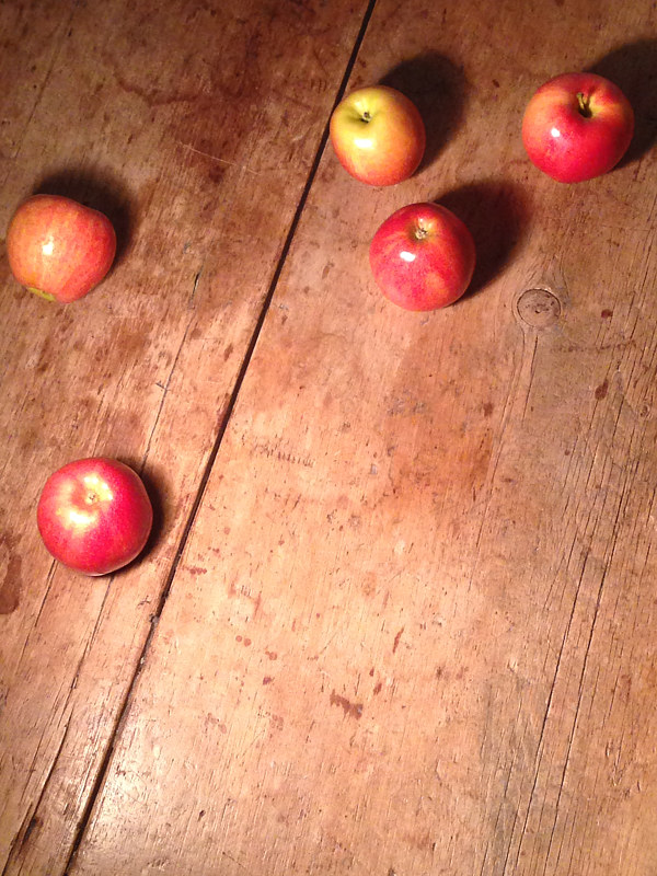 Oil painting Detail, Fallen: Apples on Tabletop by Deirdre  Hofer