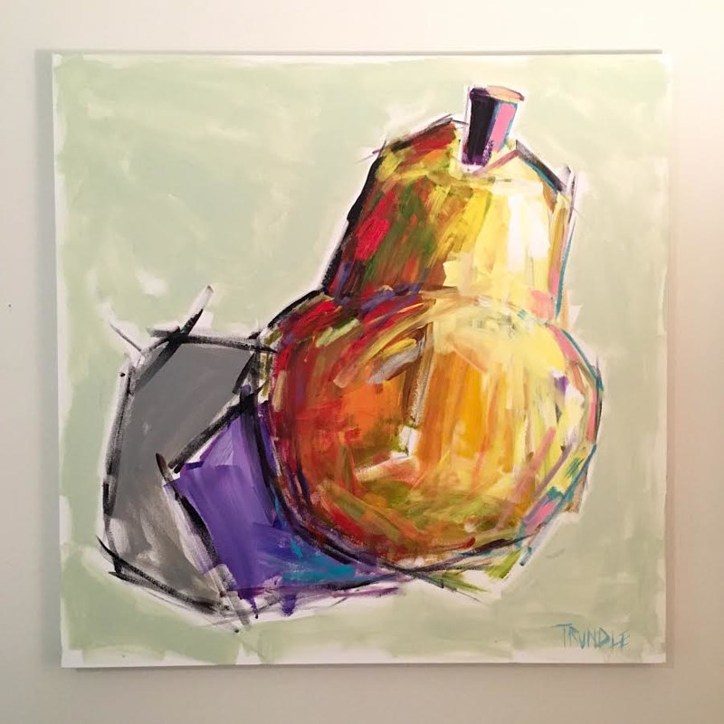 Acrylic painting A Big Pear by Sarah Trundle