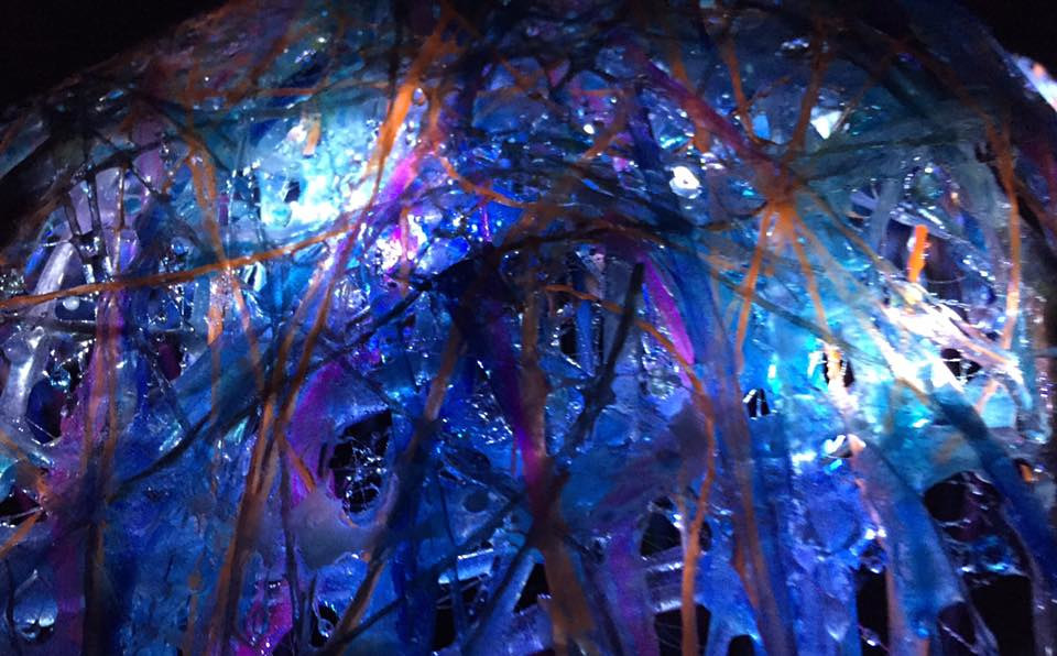 Fiberglass Menagerie Dome (detail, night with lights) by Steven Simmons