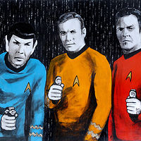 Acrylic painting STAR TREK TRIO by Carly Jaye Smith