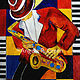 Painting Midnight Jazz Cafe' Saxophone Player  by Angela Green