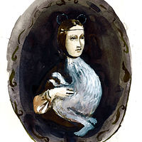 Watercolor Portrait of a Young Lady ( Da Vinci) by Mary Hayes