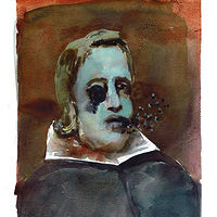Watercolor Dead Guy (Velazquez) by Mary Hayes