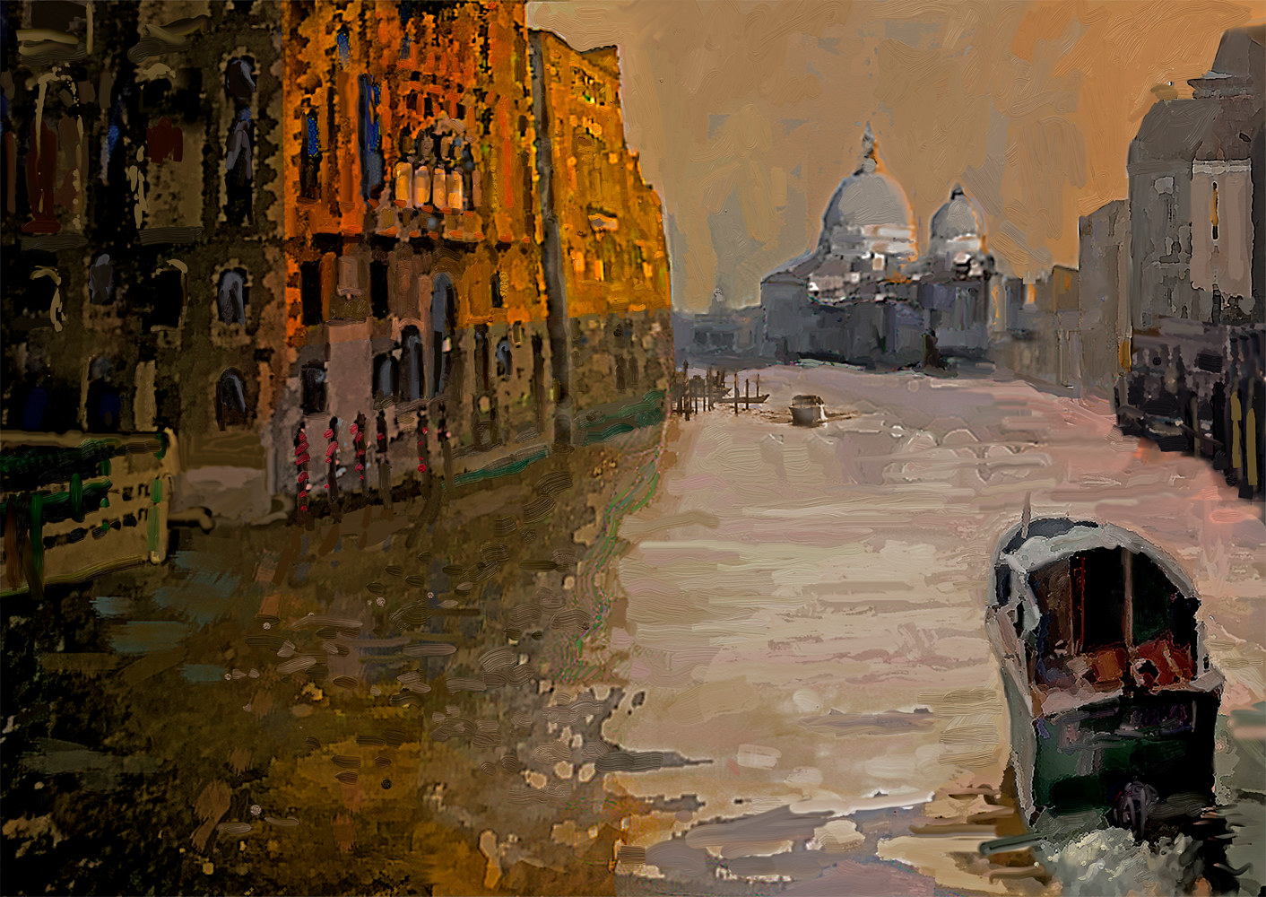 Watercolor Grand Canal, Venice by Bernard Dick