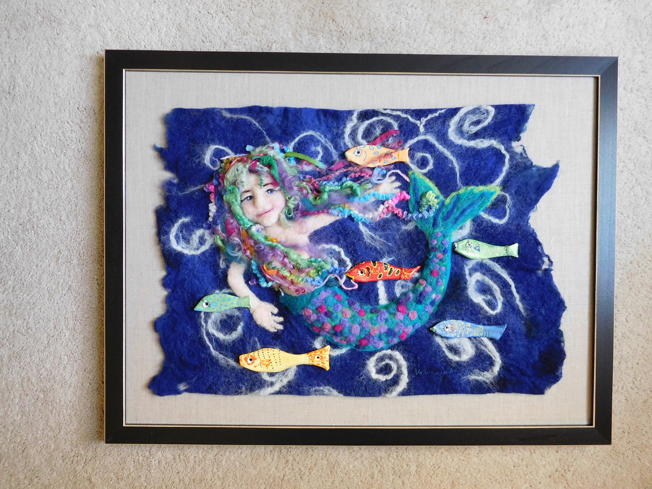ceramic Mermaid with fish by Valerie Johnson