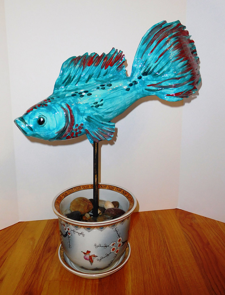 ceramic Turquoise Beta Fish by Valerie Johnson