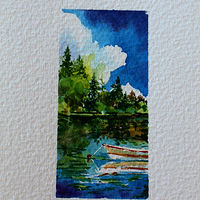 Watercolor Paradise Lake BC by Wanda Hawse