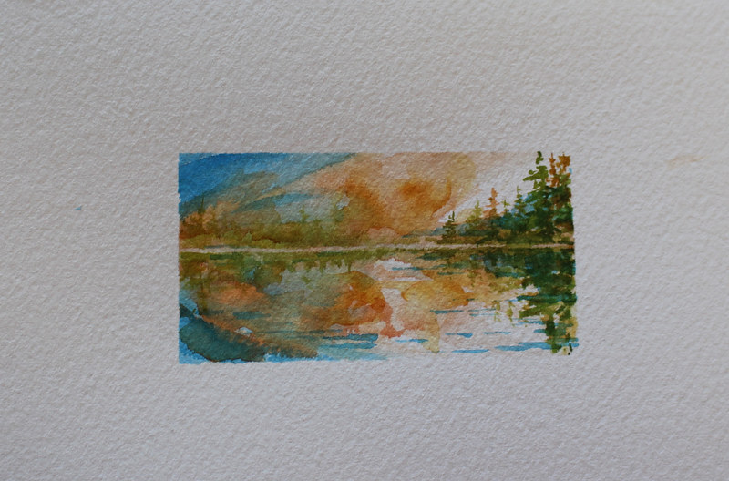 Watercolor Island Lake by Wanda Hawse