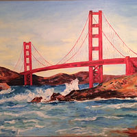 Oil painting Golden Gate Bridge by Stuart  Sampson