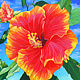 Oil painting Red Hibiscus by Guntis Jansons