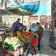 Watercolor Grocery Boat in Venice by Bernard Dick