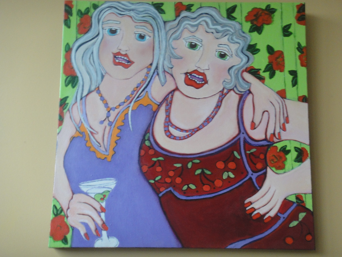 Acrylic painting TWO COOL BABES AT A COCKTAIL PARTY      SOLD by Hazel Harris