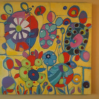 Acrylic painting PINATA FLOWERS II by Hazel Harris