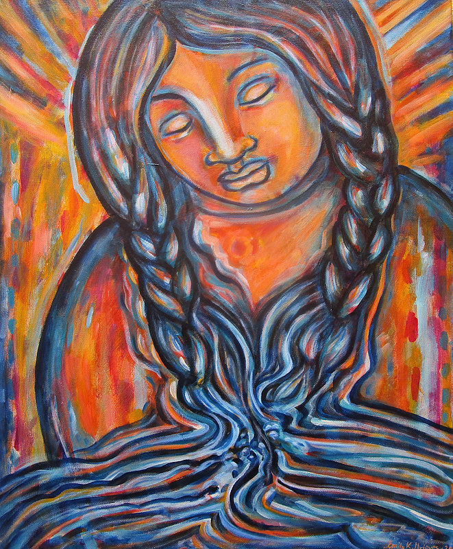 Acrylic painting Water Guardian I by Emily K. Grieves