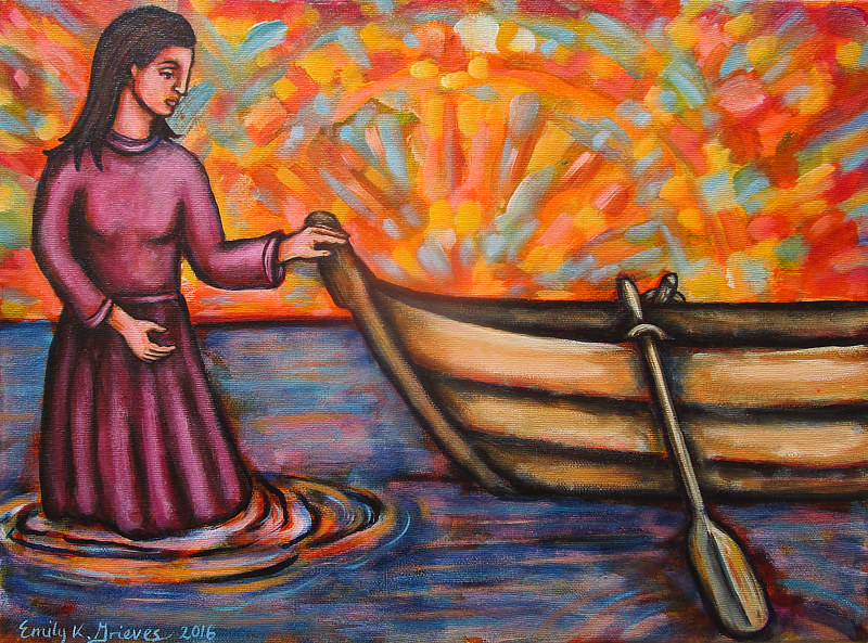 Acrylic painting Guiding the Vessel by Emily K. Grieves