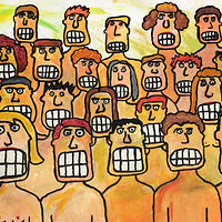 Oil painting People with Teeth who like to Watch by Bernard Scanlan