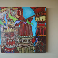 Acrylic painting TIBETAN TEMPLE  II by Hazel Harris