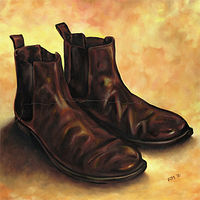 Oil painting Chelsea Boots by Richard Mountford