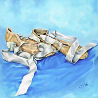 Oil painting Ballet Shoes by Richard Mountford