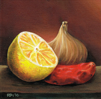 Oil painting Lemon, Onion and Chillie by Richard Mountford