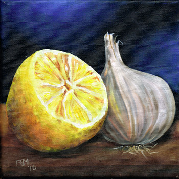 Oil painting Lemon and Garlic by Richard Mountford