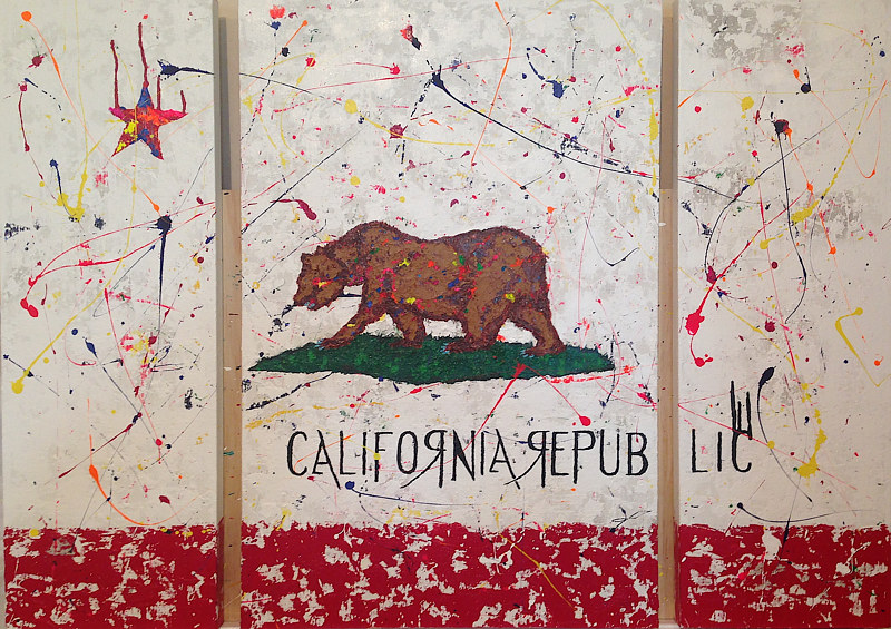 Acrylic painting CA.flag by Jeffrey Newman