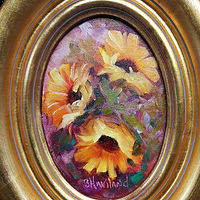 Oil painting Sunflowers Oval by Barbara Haviland