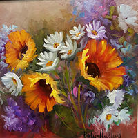 Oil painting 12x12 Sunflowers,Daisies,Hydrangeas by Barbara Haviland