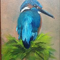 Oil painting Kingfisher Bird  by Barbara Haviland