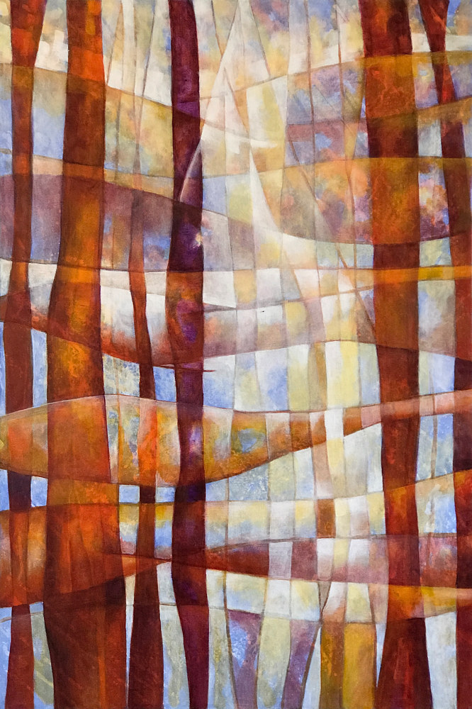 Acrylic painting Stained Glass 36%22H x 24%22W by Karen Holland