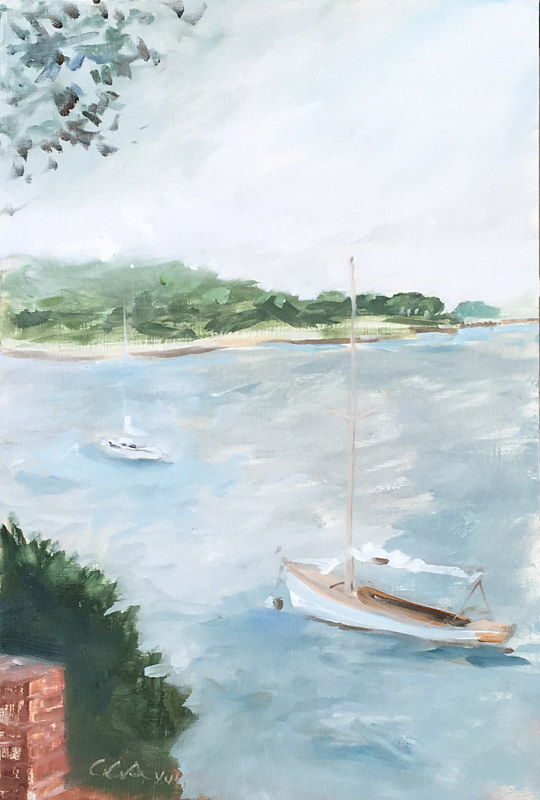 Dering Harbor Two Boats by Ginger Arthur