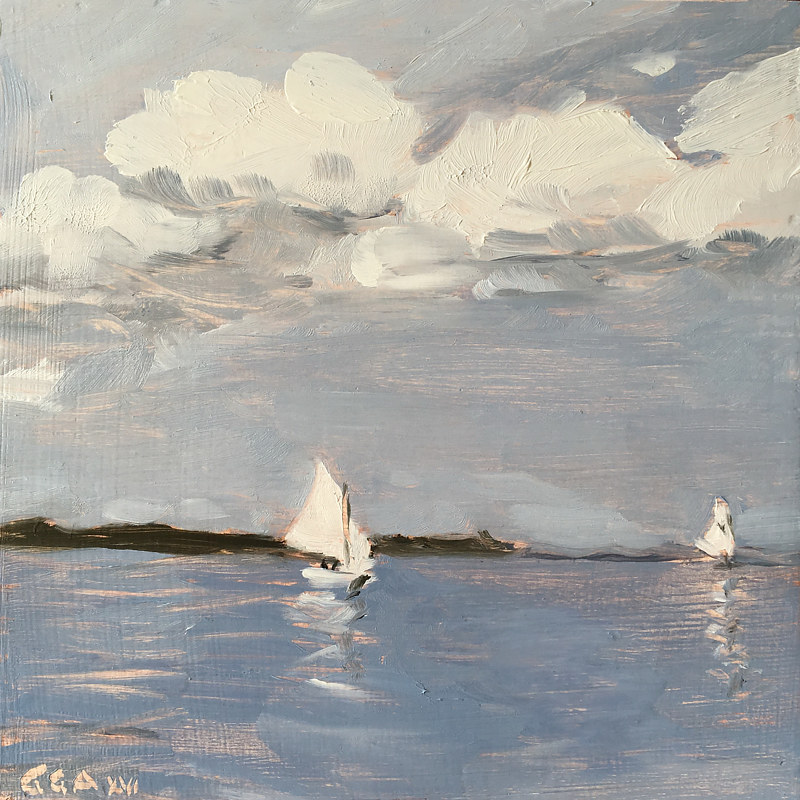 July Maine Sail by Ginger Arthur