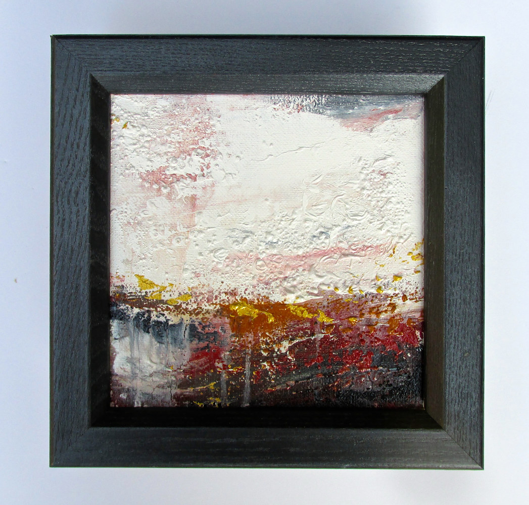 Acrylic painting small fall abstract by Laura Spring