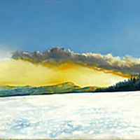 Oil painting 'Snow/Dusk/Field, Looking from Llechrrydau' by Richard Mountford