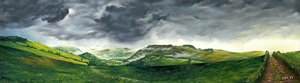 Oil painting 'The Great Cloud of 3rd April 2015 over the Ceiriog Valley' by Richard Mountford