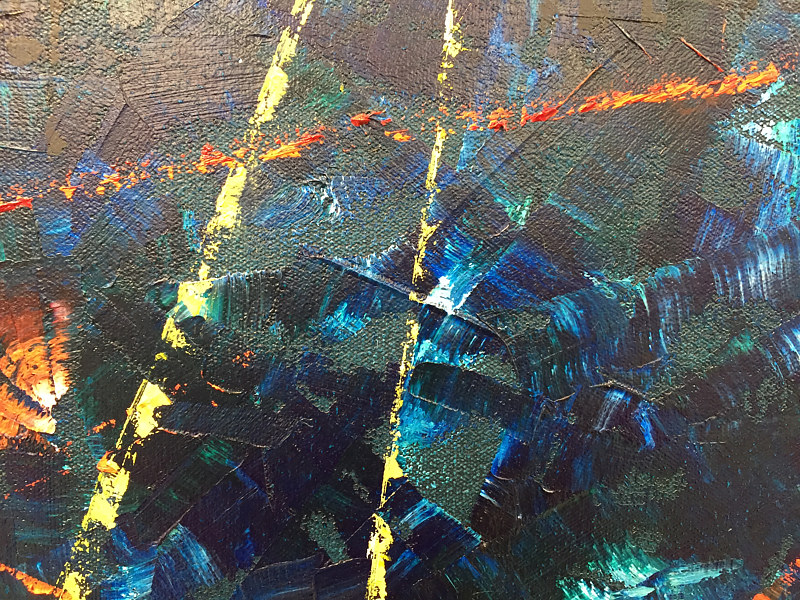 Oil painting Fast Car - detail 1 by Marilyn Nelson