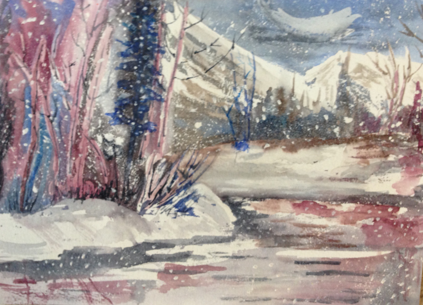 Watercolor Snow Scene by Joan Morris