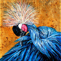 Acrylic painting Crowned Crane by Cathy Crain