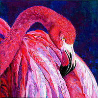 Acrylic painting Flamingo by Cathy Crain