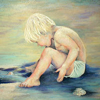 Acrylic painting Hunt for Periwinkles by Cathy Crain