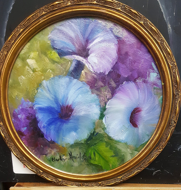 Oil painting Pink Morning Glories by Barbara Haviland