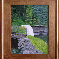 Acrylic painting Silver Falls, Oregon-11x14 by Frans Geerlings