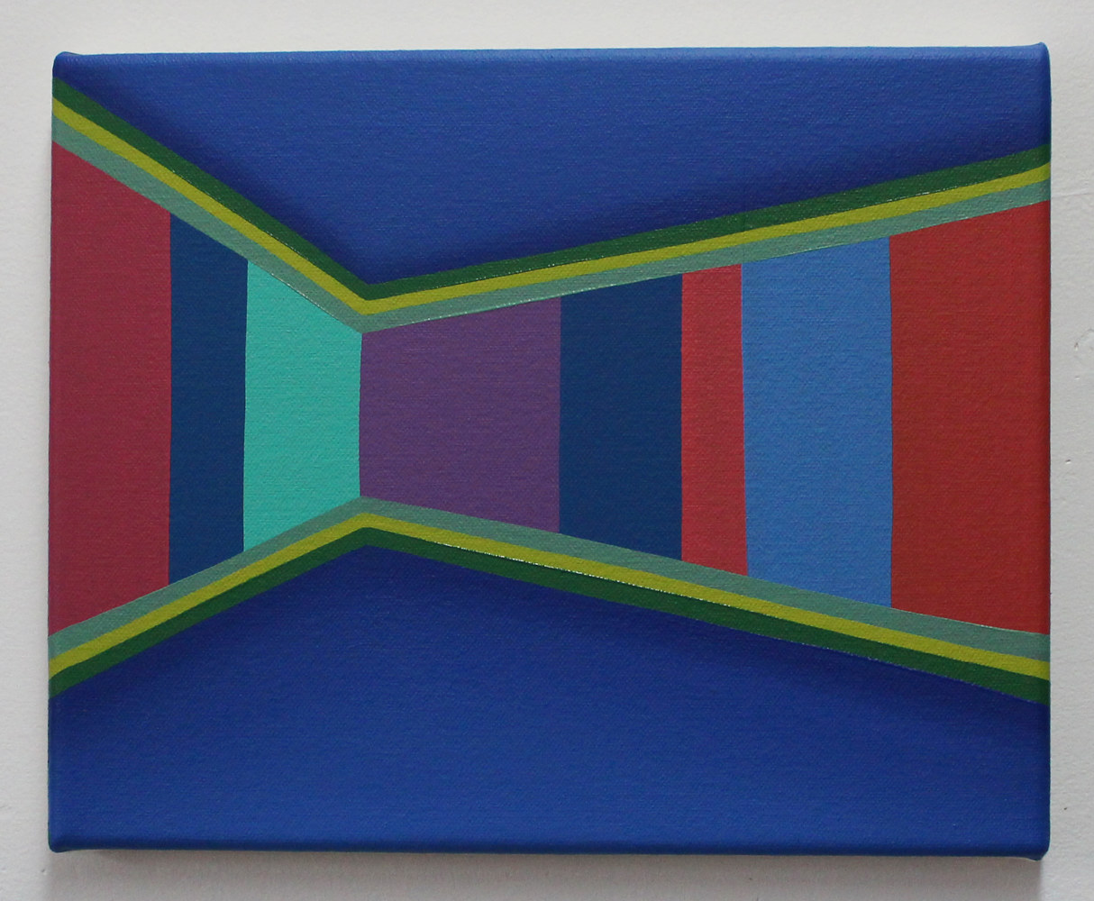 "Oil painting ""Untitled (Blue Interior with Stripes)"" 2016 by Christann Kennedy"